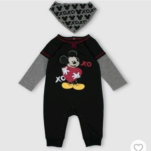 NWT Disney 2-pc Mickey Mouse Romper and Bib Set